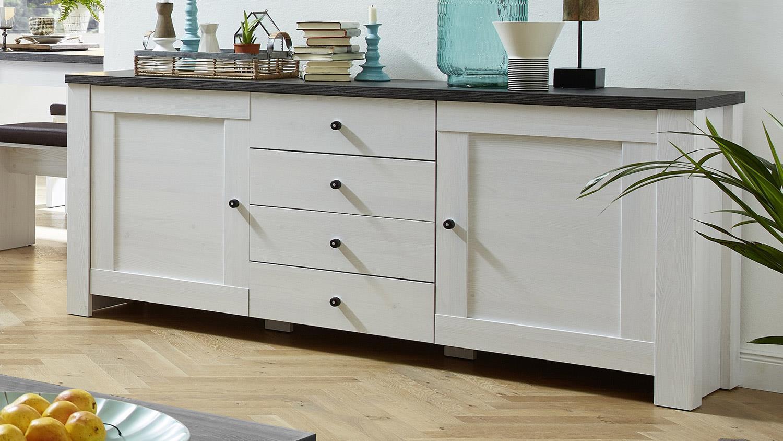 sideboard antwerpen kommode in l rche und pinie dunkel. Black Bedroom Furniture Sets. Home Design Ideas
