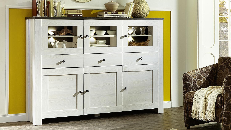 highboard antwerpen sideboard l rche pinie dunkel inkl led. Black Bedroom Furniture Sets. Home Design Ideas