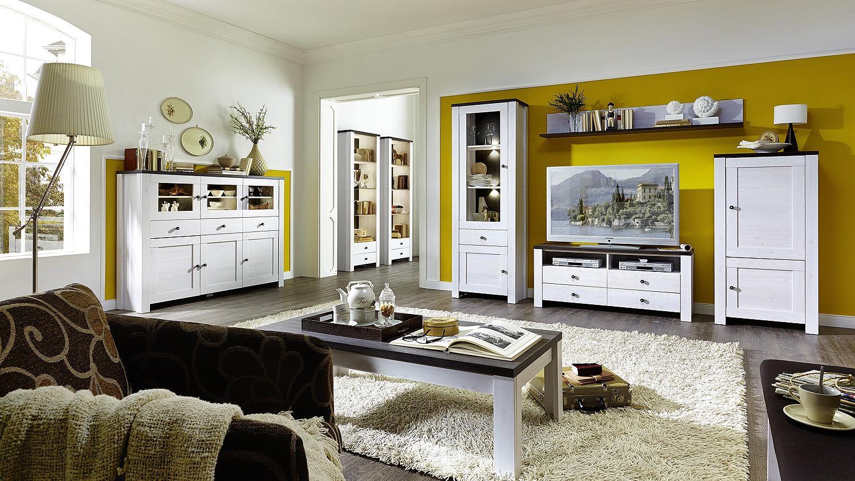 wohnwand antwerpen 1 in l rche pinie dunkel inkl led. Black Bedroom Furniture Sets. Home Design Ideas