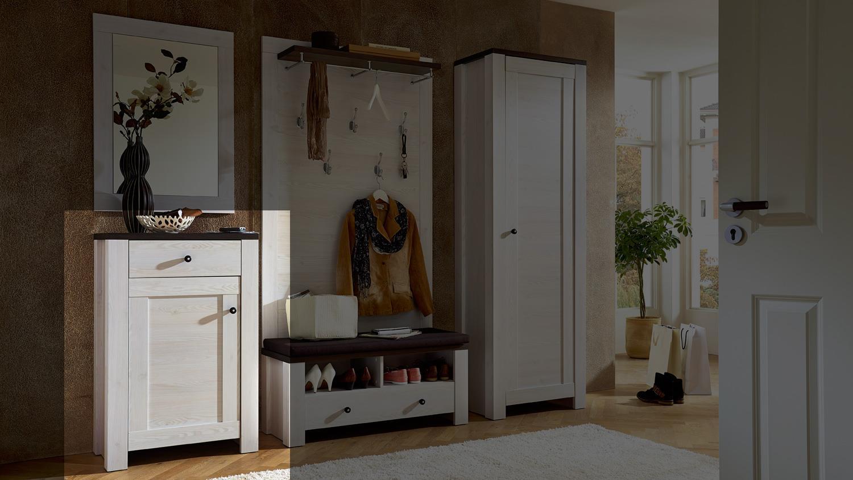 schuhschrank 1 antwerpen schuhkommode l rche pinie dunkel. Black Bedroom Furniture Sets. Home Design Ideas