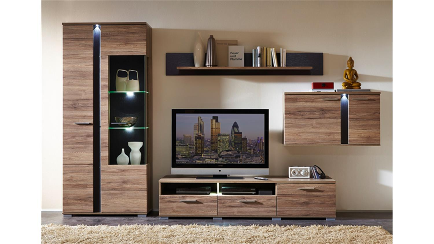 wohnwand spot 2 san remo eiche schiefer inkl led. Black Bedroom Furniture Sets. Home Design Ideas