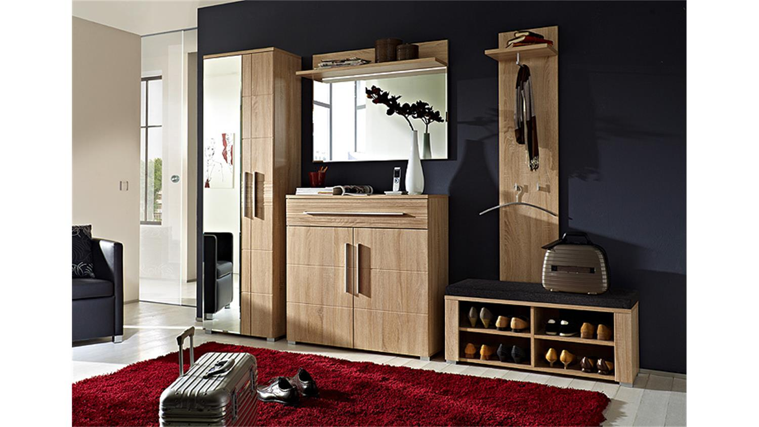 schubank point sonoma eiche hell inkl sitzkissen. Black Bedroom Furniture Sets. Home Design Ideas