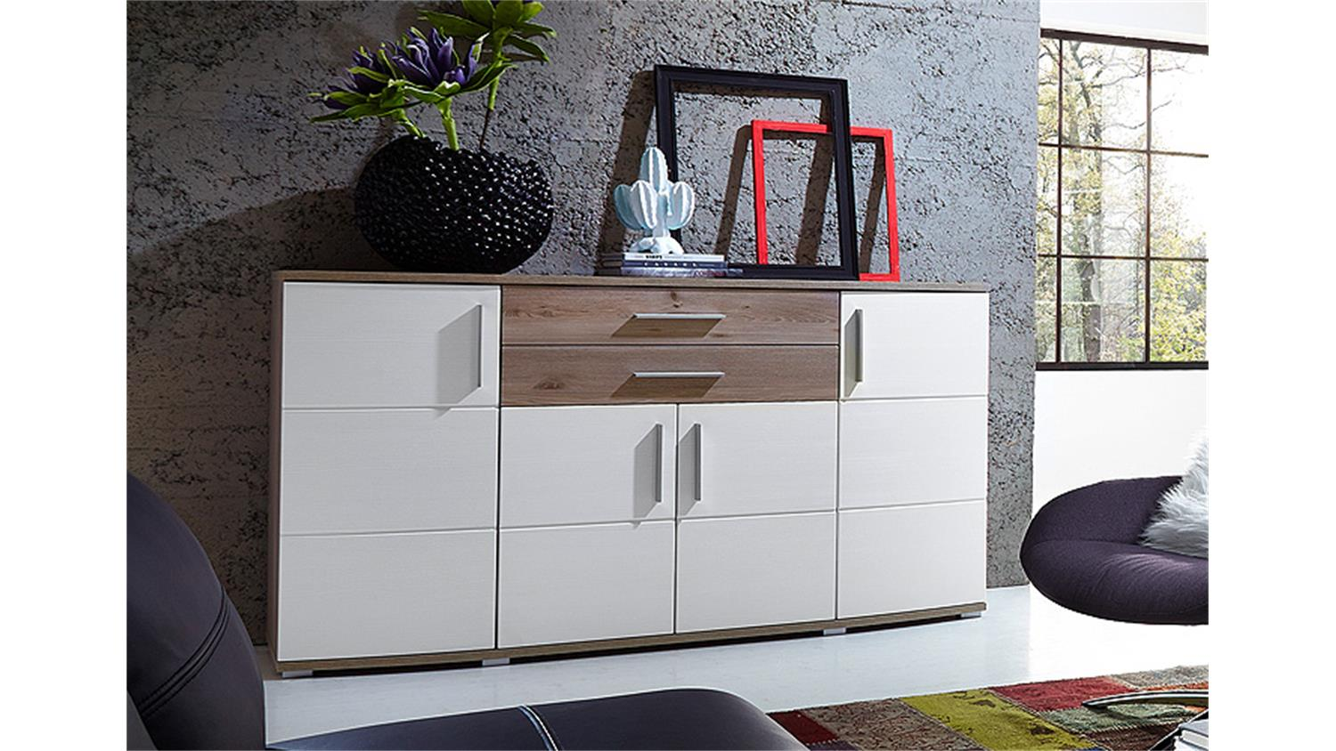 sideboard jam kommode anrichte in wei silbereiche dekor. Black Bedroom Furniture Sets. Home Design Ideas