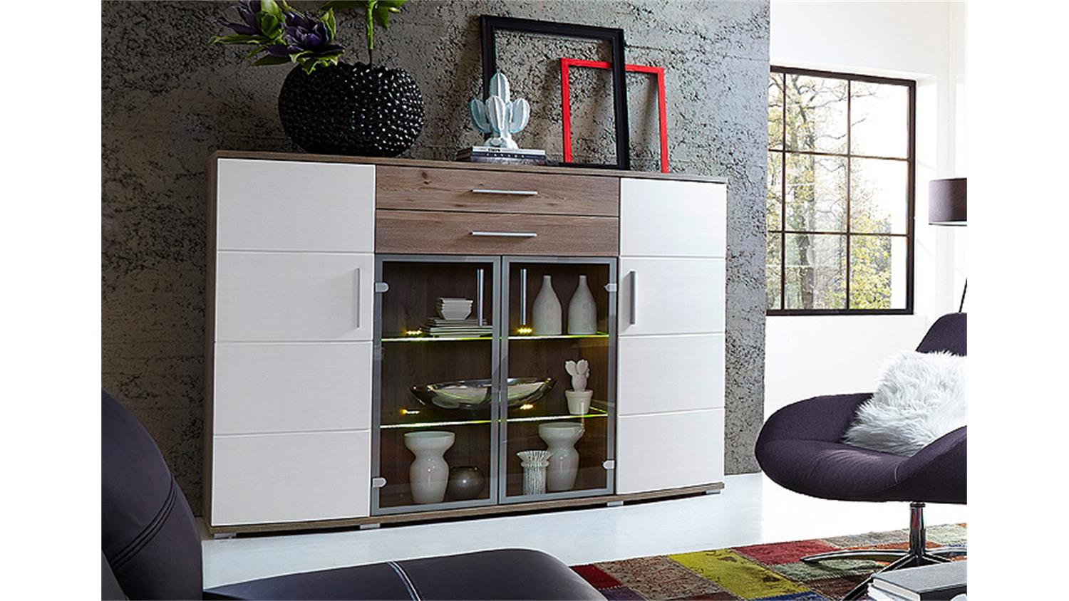 highboard jam vitrine in silbereiche und wei inkl led beleuchtung. Black Bedroom Furniture Sets. Home Design Ideas