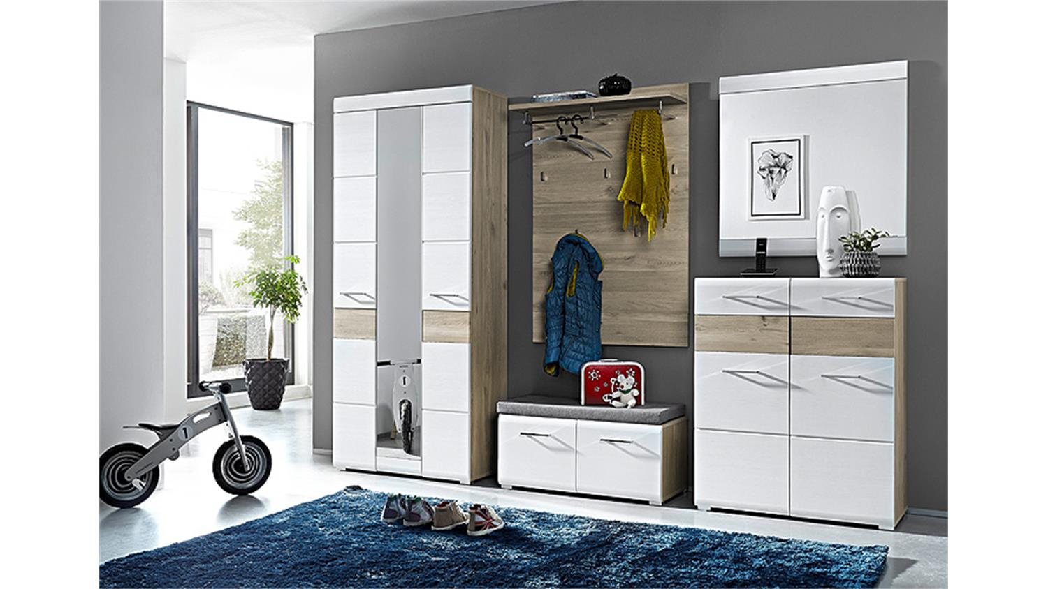garderobe funny set mit schrank paneel spiegel wei struktur silbereiche. Black Bedroom Furniture Sets. Home Design Ideas