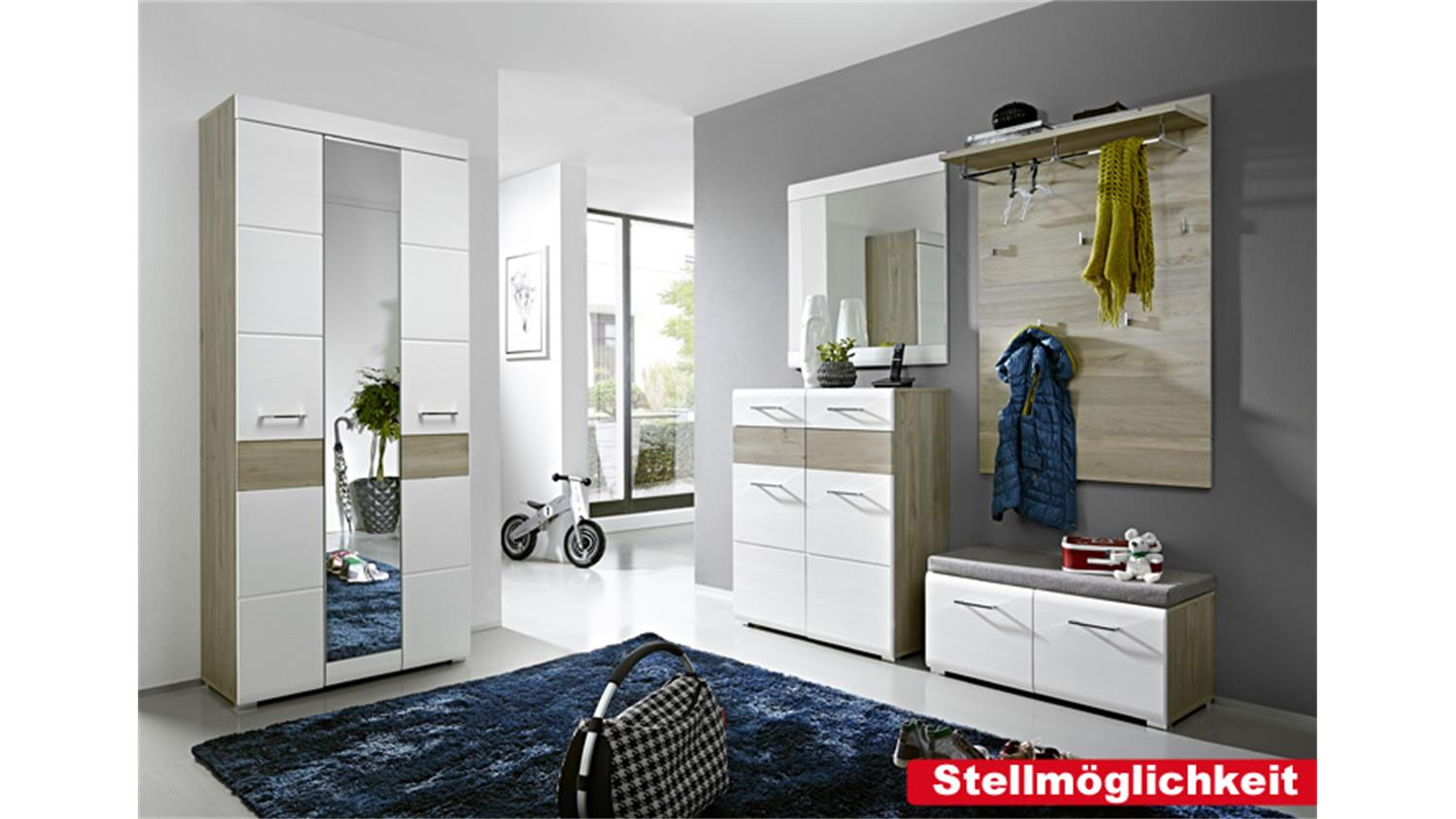 garderobenset funny wei silbereiche spiegel. Black Bedroom Furniture Sets. Home Design Ideas