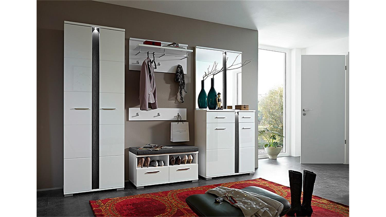 garderobenpaneel 2 spot garderobe paneel in wei hochglanz. Black Bedroom Furniture Sets. Home Design Ideas