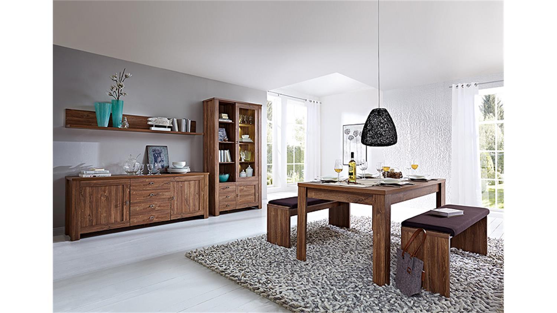 vitrine br ssel wohnzimmerschrank akazie dunkel inkl led. Black Bedroom Furniture Sets. Home Design Ideas