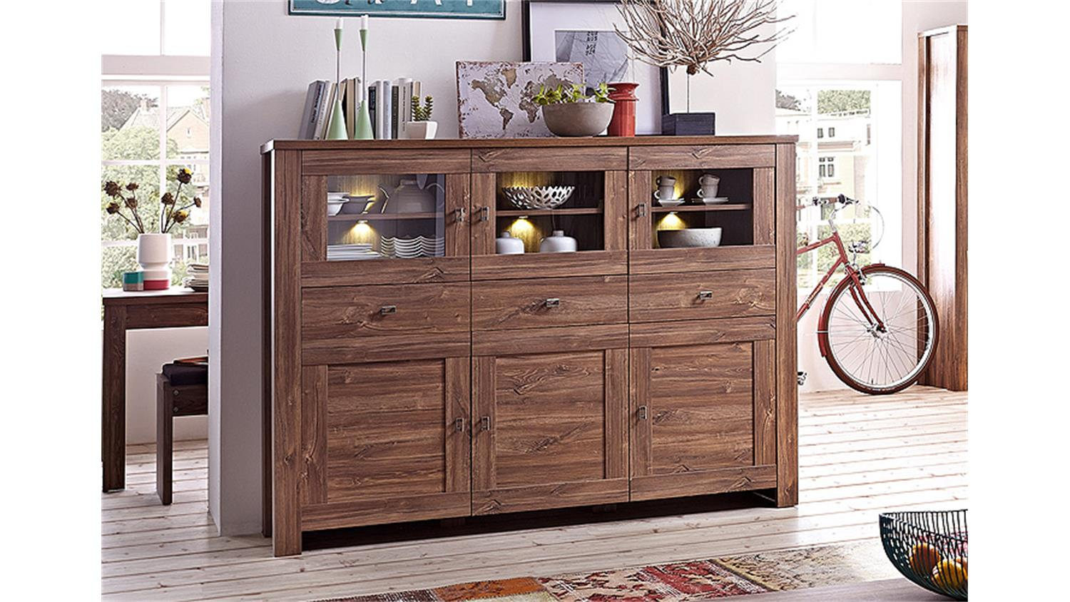 highboard br ssel sideboard in akazie dunkel inkl led. Black Bedroom Furniture Sets. Home Design Ideas