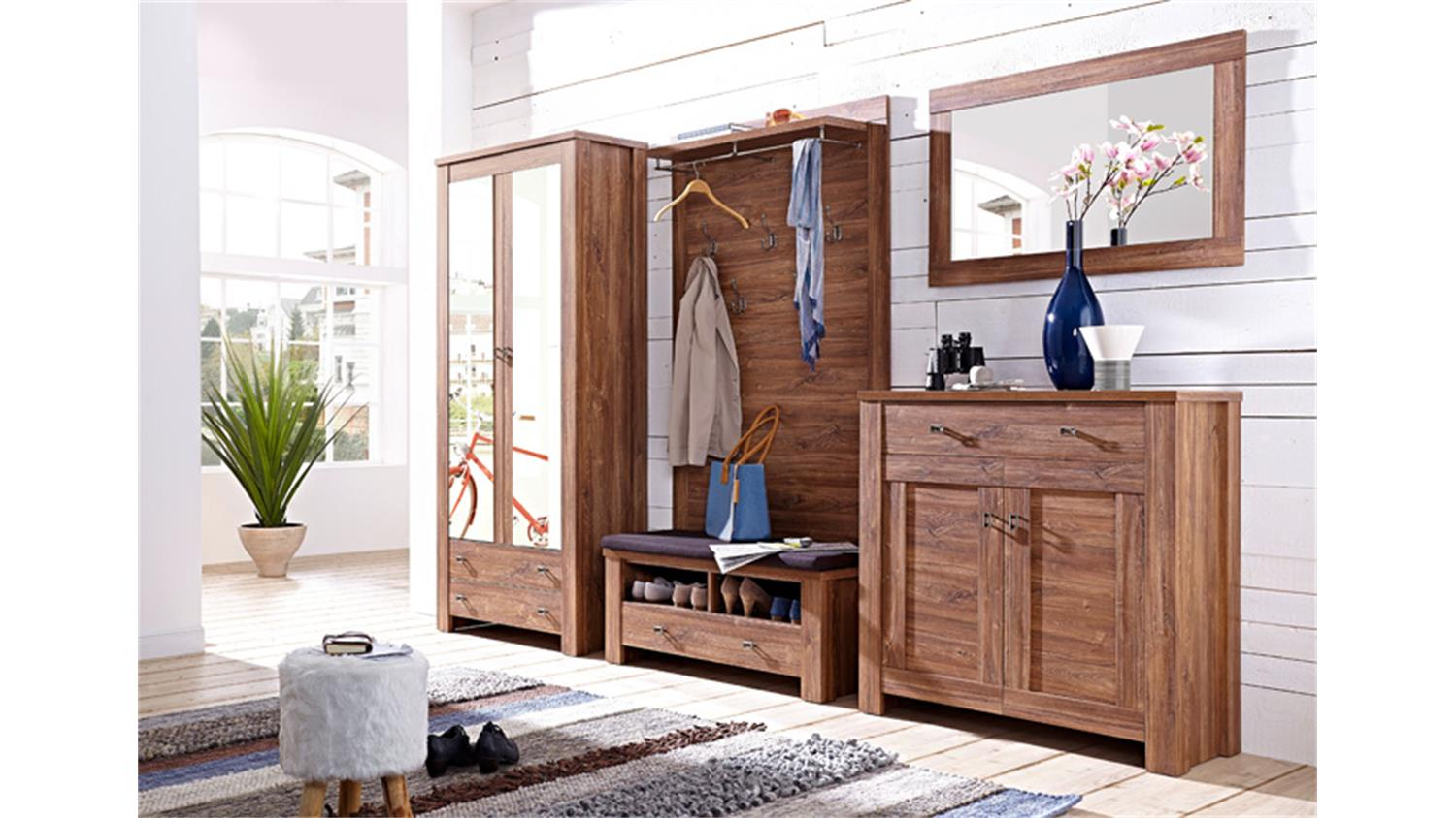 garderobenset 1 br ssel garderobe set in akazie dunkel. Black Bedroom Furniture Sets. Home Design Ideas