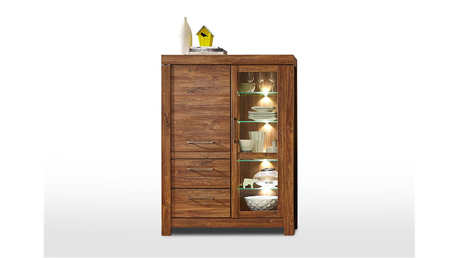 Vitrine GENT Highboard Schrank In Akazie Dunkel Inkl LED