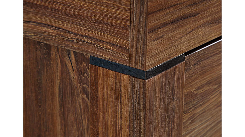 vitrine gent highboard schrank in akazie dunkel inkl led. Black Bedroom Furniture Sets. Home Design Ideas