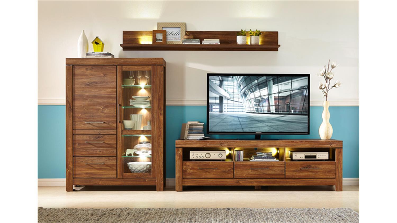 wohnwand holz dunkel. Black Bedroom Furniture Sets. Home Design Ideas