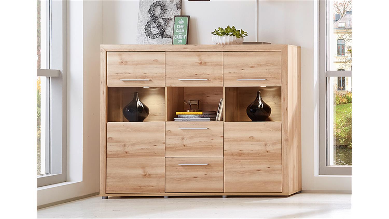 highboard run vitrine schrank buffet in buche hell inkl led. Black Bedroom Furniture Sets. Home Design Ideas