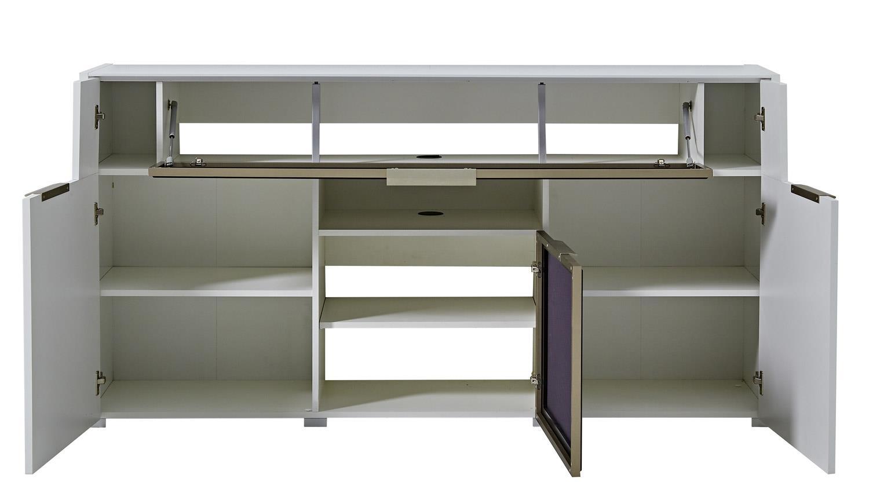 media sideboard median media board wei hochglanz grauer akustikstoff. Black Bedroom Furniture Sets. Home Design Ideas