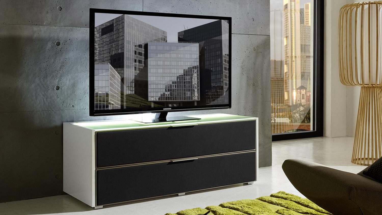 tv board median wei hochglanz mit grauem akustikstoff inkl led. Black Bedroom Furniture Sets. Home Design Ideas