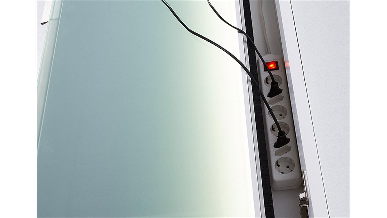 tv board median unterteil lowboard eiche und grau inkl led. Black Bedroom Furniture Sets. Home Design Ideas