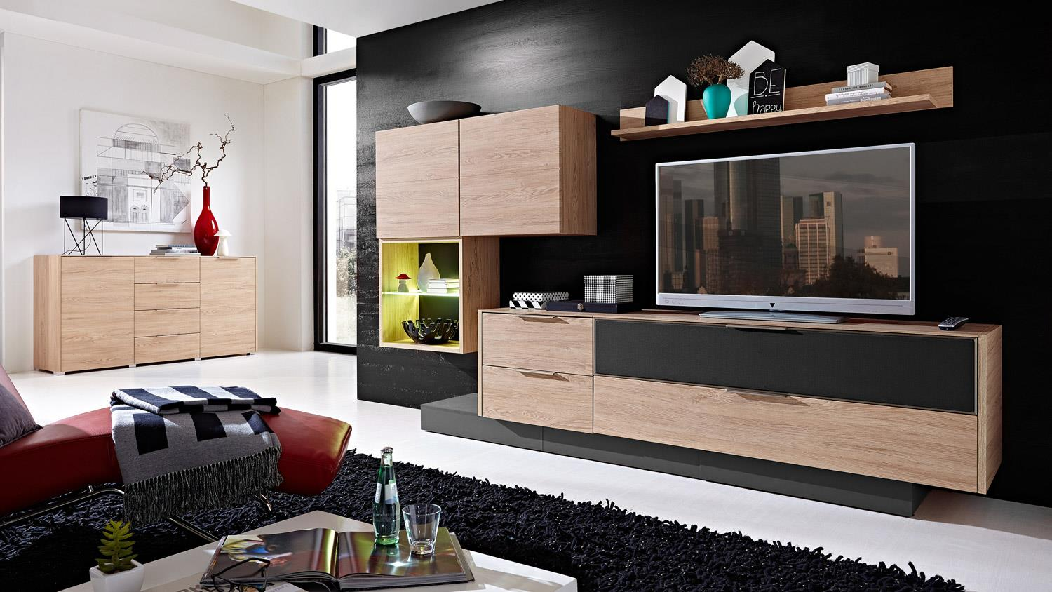 tv board median unterteil lowboard in eiche mit akustikstoff softclose. Black Bedroom Furniture Sets. Home Design Ideas