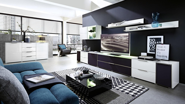 wohnwand 1 median anbauwand wei hochglanz mit akustikstoff inkl led. Black Bedroom Furniture Sets. Home Design Ideas