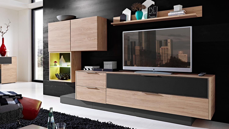 wohnwand 2 median anbauwand in eiche mit grauem akustikstoff inkl led. Black Bedroom Furniture Sets. Home Design Ideas