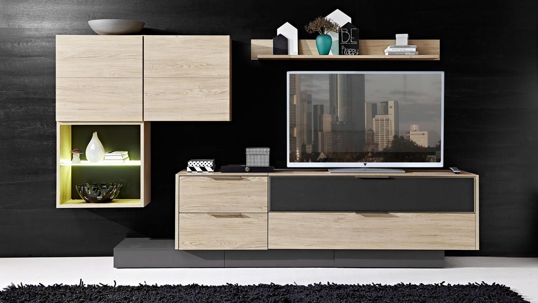 wohnwand 2 median anbauwand in eiche mit grauem. Black Bedroom Furniture Sets. Home Design Ideas