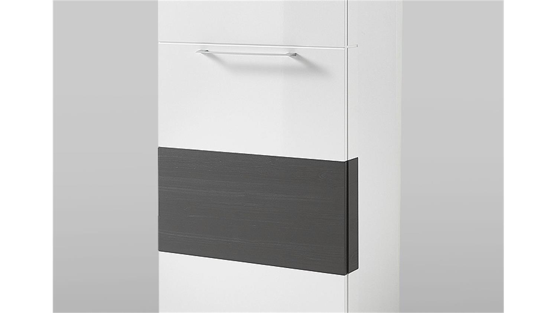 garderobenschrank reno schrank in wei hochglanz und grau. Black Bedroom Furniture Sets. Home Design Ideas