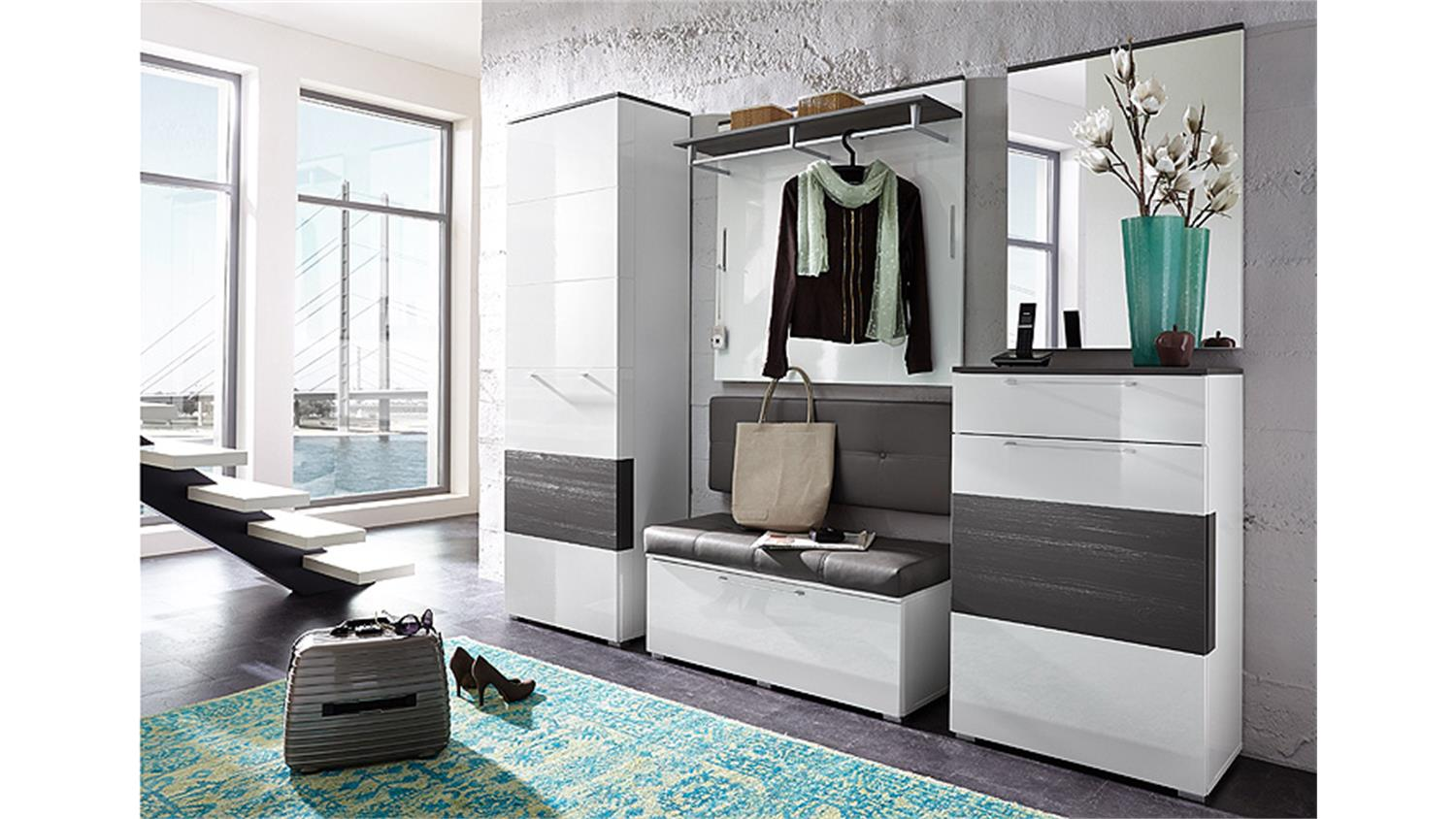 schuhschrank reno schrank in wei hochglanz und grau. Black Bedroom Furniture Sets. Home Design Ideas
