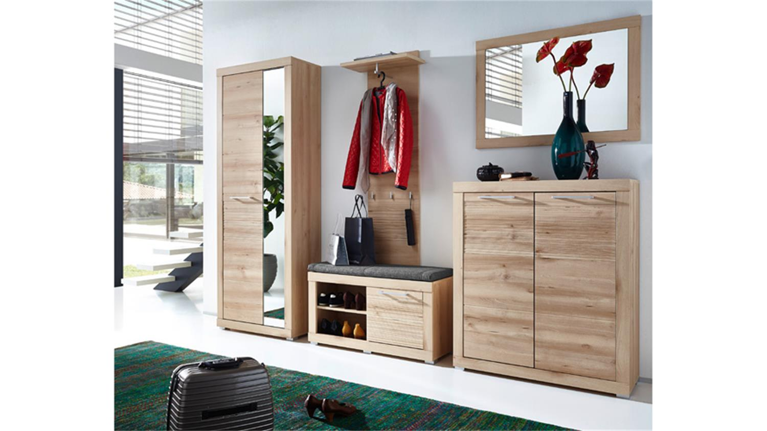 schuhschrank targa flurschrank schuhkommode in buche hell. Black Bedroom Furniture Sets. Home Design Ideas