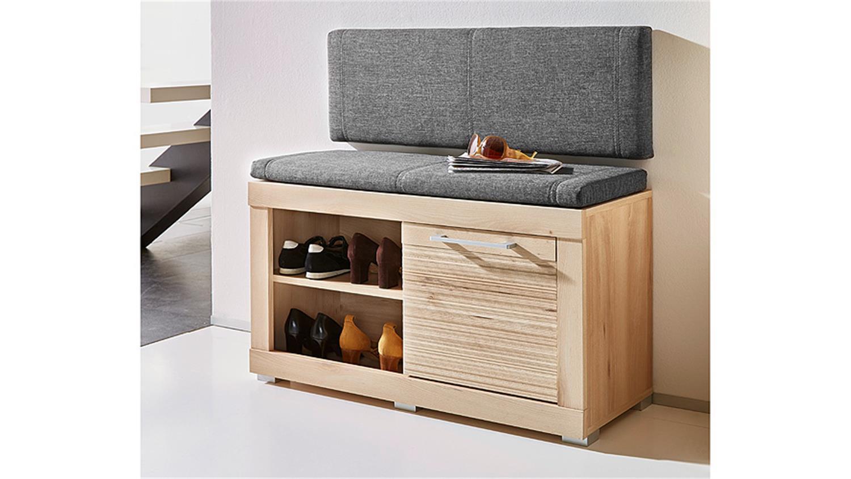 bank targa garderobenbank in buche hell inkl kissen in grau. Black Bedroom Furniture Sets. Home Design Ideas
