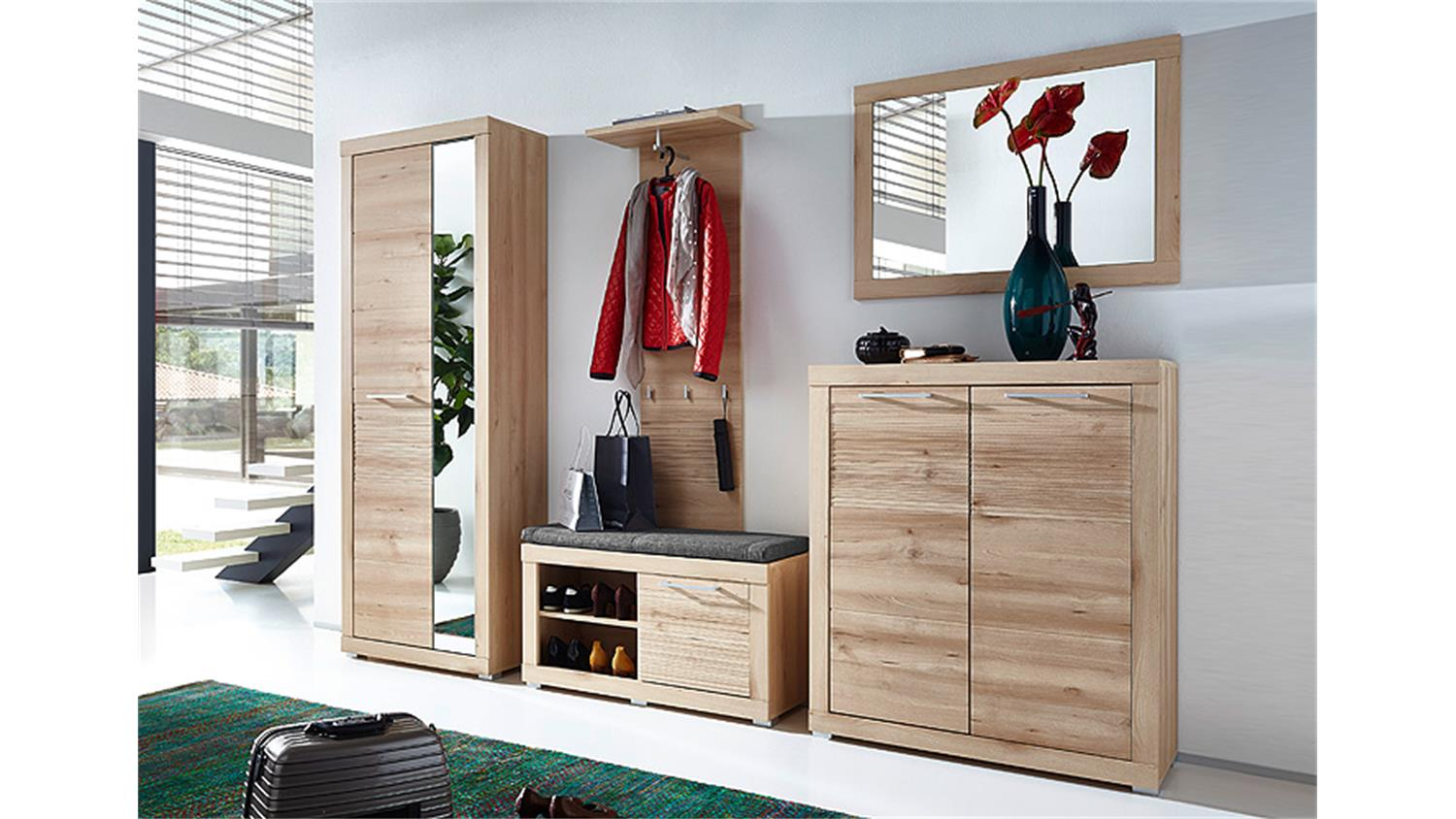 garderobenset 1 targa garderobe flurm bel in buche hell. Black Bedroom Furniture Sets. Home Design Ideas