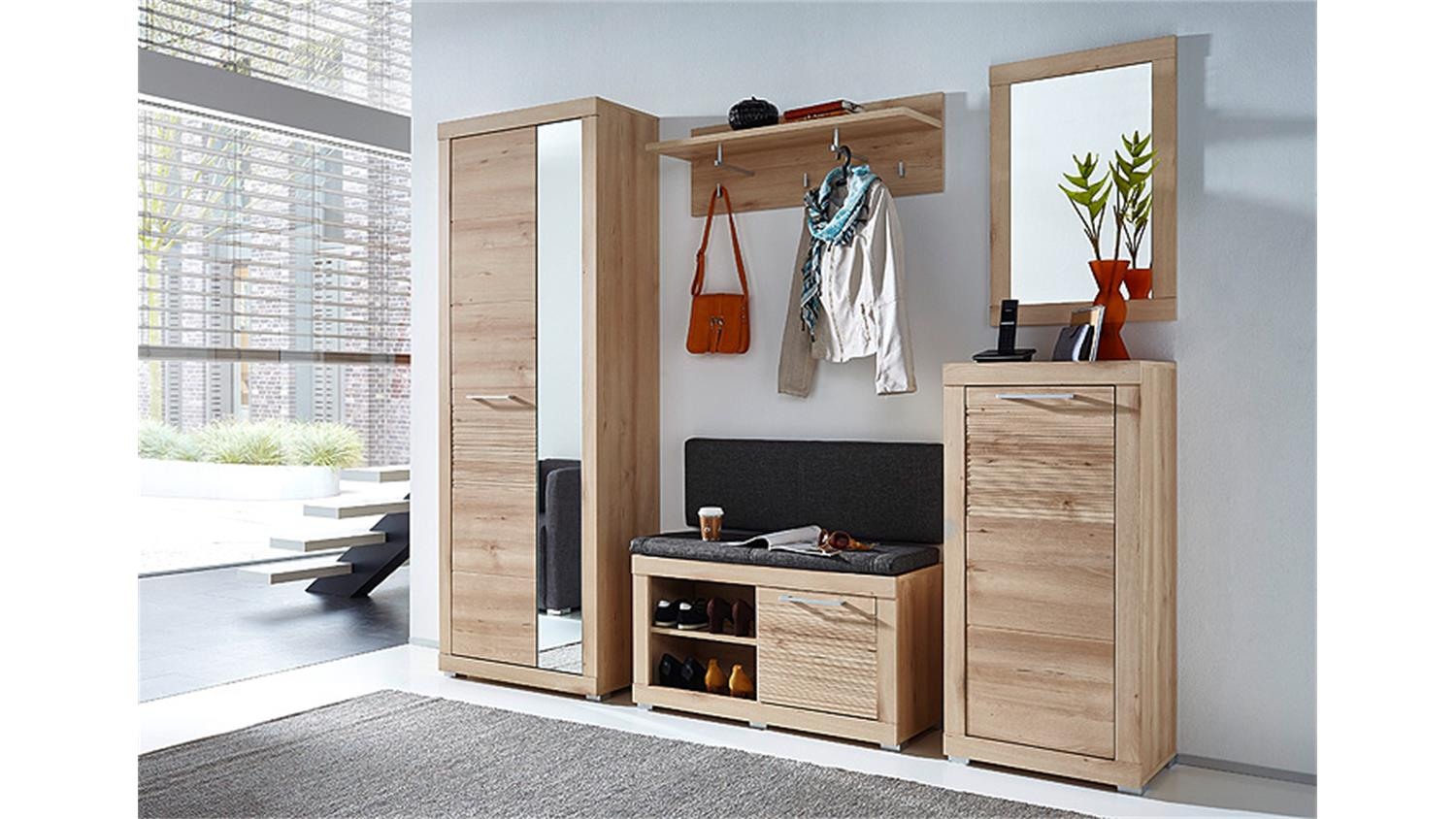 garderobenset 2 targa garderobe flurm bel in buche hell. Black Bedroom Furniture Sets. Home Design Ideas
