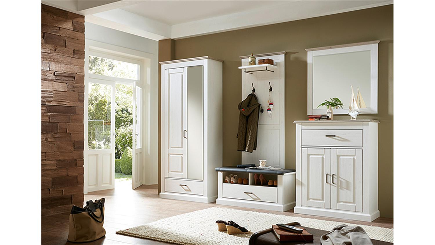 garderobenset 1 lima garderobe pinie hell und taupe. Black Bedroom Furniture Sets. Home Design Ideas