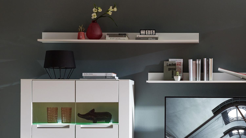 wohnwand dinaro wei mit vitrine lowboard wandboard mit led. Black Bedroom Furniture Sets. Home Design Ideas