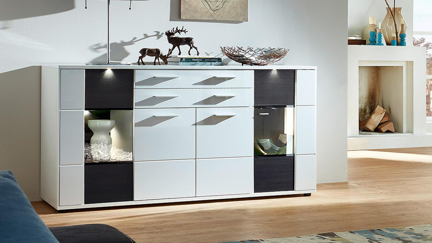 wohnzimmer sideboard clou wei hochglanz anthrazit mit led. Black Bedroom Furniture Sets. Home Design Ideas