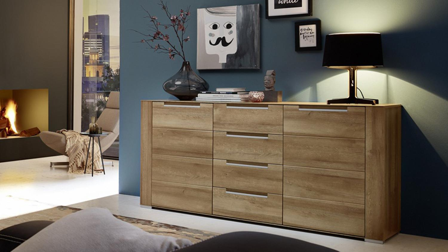 sideboard dinaro kommode anrichte in eiche hell 170 cm breit. Black Bedroom Furniture Sets. Home Design Ideas