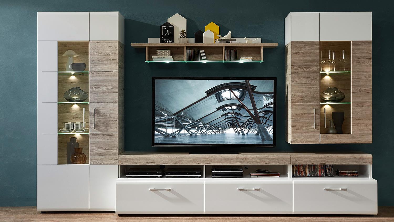 anbauwand spirit wohnwand wei hochglanz sandeiche mit led. Black Bedroom Furniture Sets. Home Design Ideas