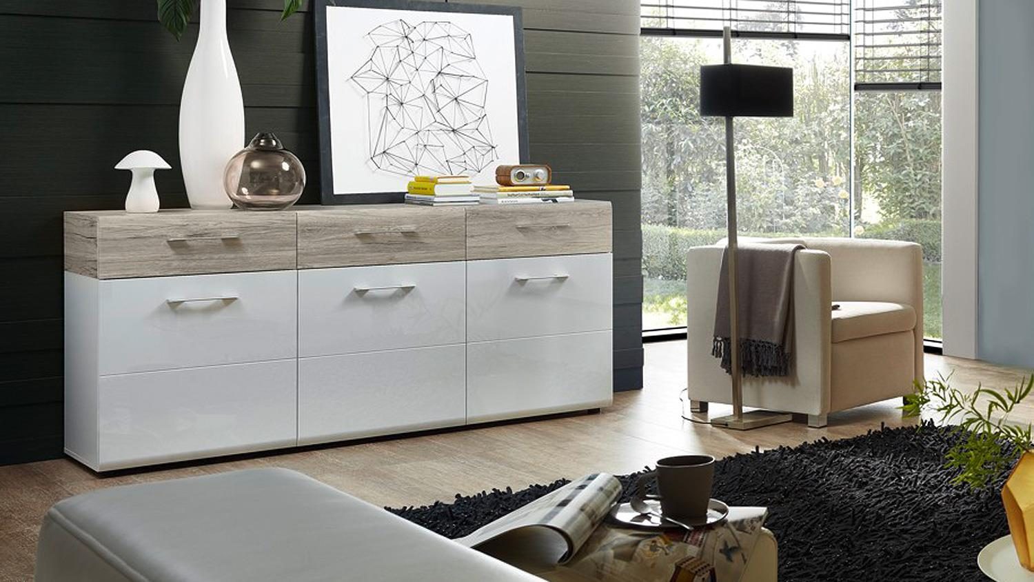 sideboard spirit kommode anrichte wei hochglanz sandeiche. Black Bedroom Furniture Sets. Home Design Ideas