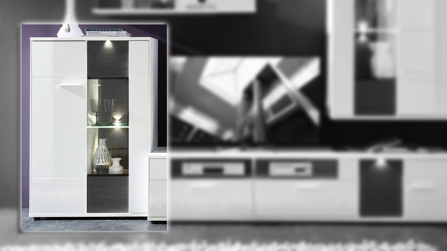 wohnzimmer vitrine links clou wei hochglanz anthrazit led. Black Bedroom Furniture Sets. Home Design Ideas