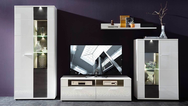 vitrine rechts clou glasvitrine wei hochglanz anthrazit led. Black Bedroom Furniture Sets. Home Design Ideas