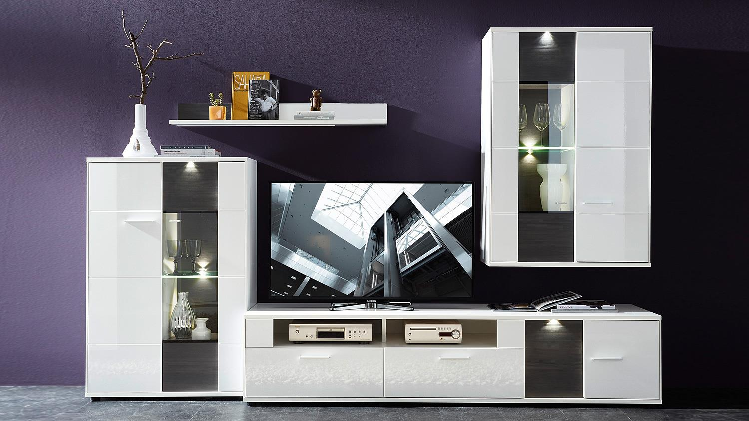 wohnzimmer h ngevitrine clou h ngeschrank wei hochglanz anthrazit led. Black Bedroom Furniture Sets. Home Design Ideas