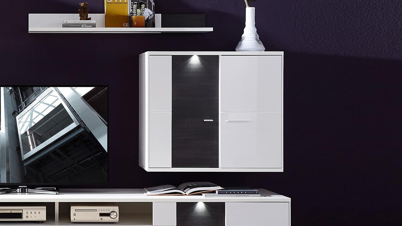wohnzimmer h ngeschrank clou in wei hochglanz anthrazit led. Black Bedroom Furniture Sets. Home Design Ideas