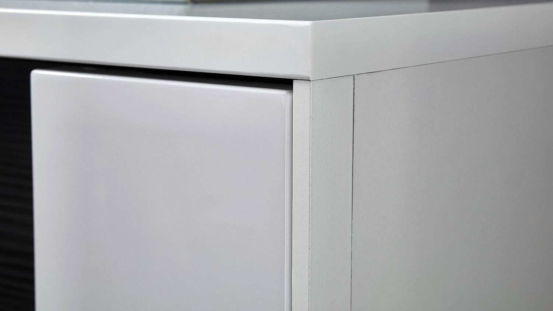 Wohnzimmer Hängeschrank Clou in weiß Hochglanz anthrazit LED