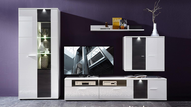 wohnwand 3 clou anbauwand wei hochglanz anthrazit mit led. Black Bedroom Furniture Sets. Home Design Ideas