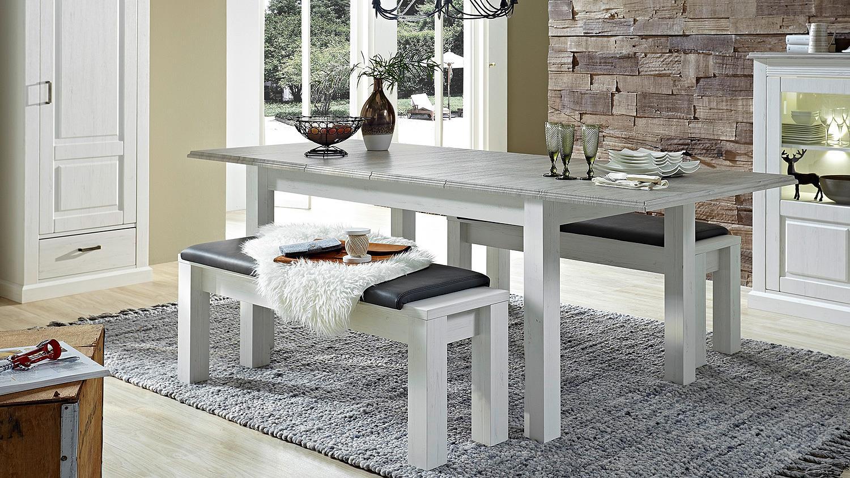 esstisch lima tisch ausziehbar in pinie hell taupe 160 240. Black Bedroom Furniture Sets. Home Design Ideas