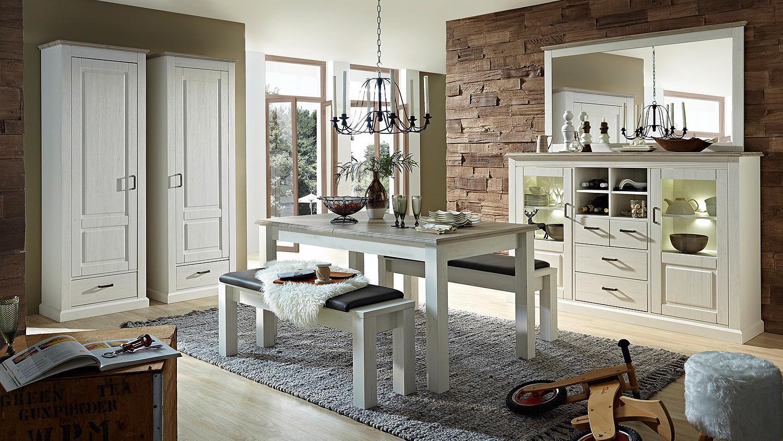 bank lima sitzbank mit sitzkissen in pinie hell und grau. Black Bedroom Furniture Sets. Home Design Ideas