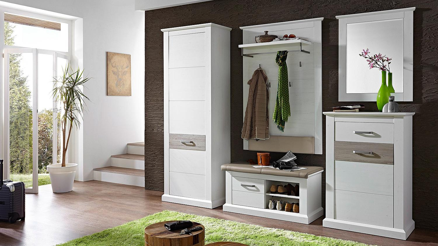 garderobenset 4 modena garderobe in pinie hell und taupe. Black Bedroom Furniture Sets. Home Design Ideas