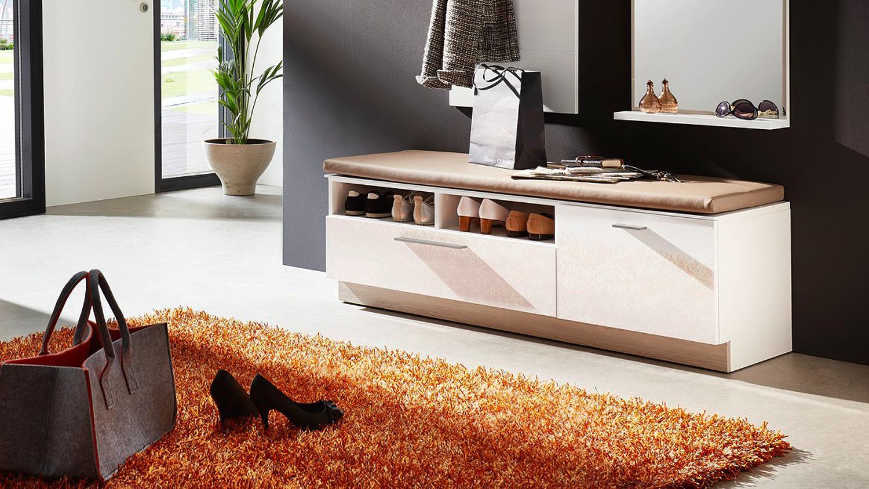 Brilliant Garderobe Bank Beste Wahl Duo Wei Hochglanz Taupe Sitzkissen Cm With