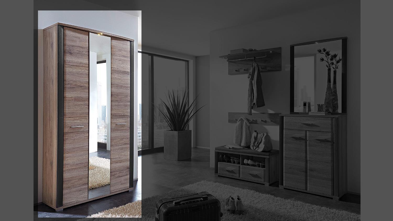 spiegelschrank flame schrank san remo eiche schiefer mit led. Black Bedroom Furniture Sets. Home Design Ideas