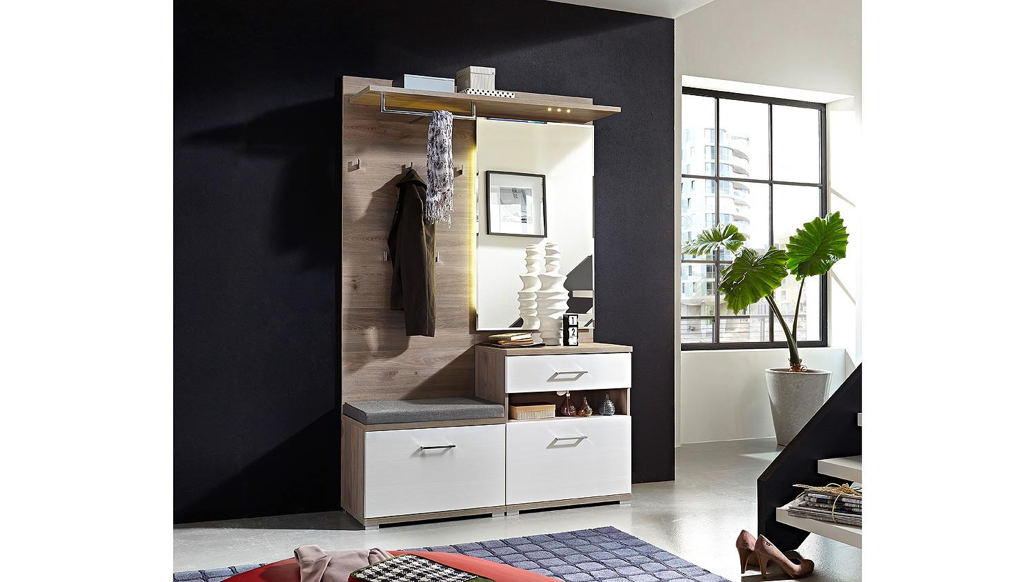 garderobe set 1 plus flurm bel wei silbereiche mit led. Black Bedroom Furniture Sets. Home Design Ideas