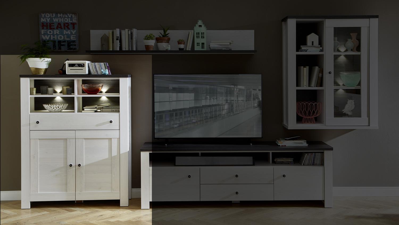 highboard antwerpen schrank l rche pinie dunkel mit led. Black Bedroom Furniture Sets. Home Design Ideas